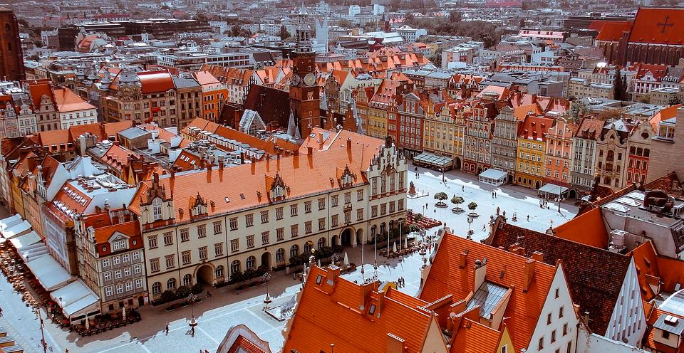 Imagem aérea da Polônia